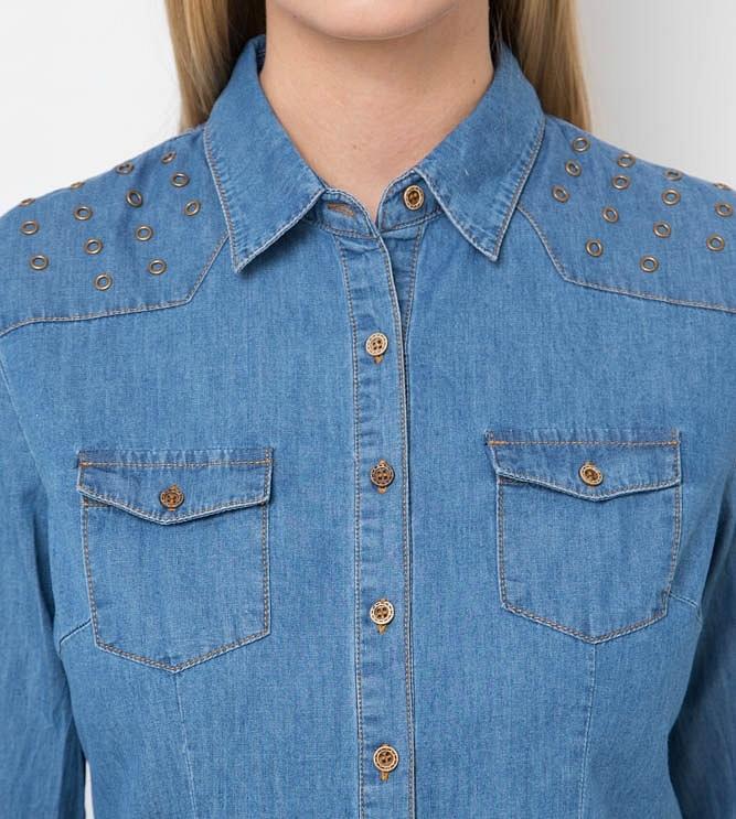 Рубашка с длинным рукавом Джинс