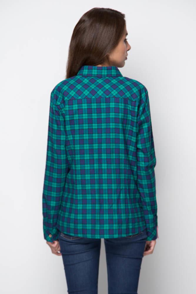 Рубашка женская байковая - зеленая клетка