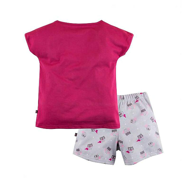 Пижама футболка и шорты с принтом для девочки