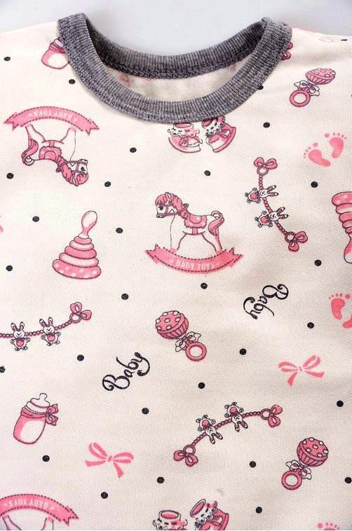 Фуфайка для девочки Молочный с рисунками - утепленная