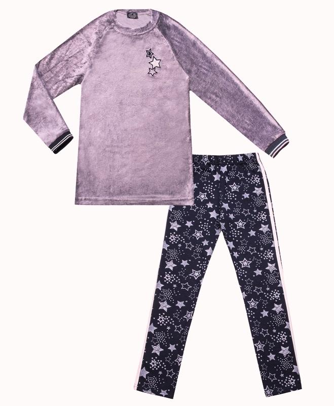 Костюм для девочки с блестящим рисунком и вышивкой