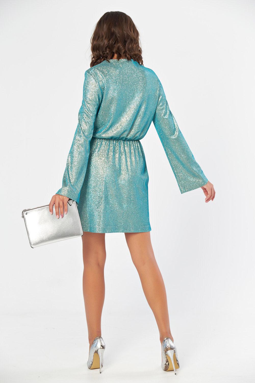 Платье женское бирюзовый металлик