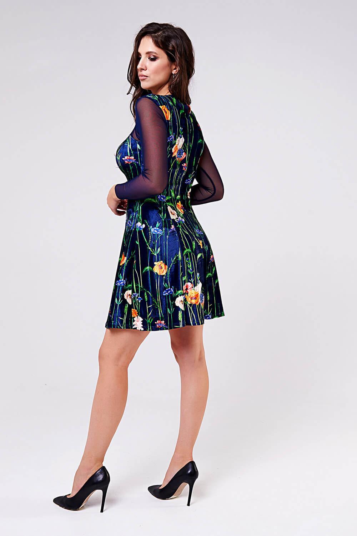 Платье бархатное с сеткой