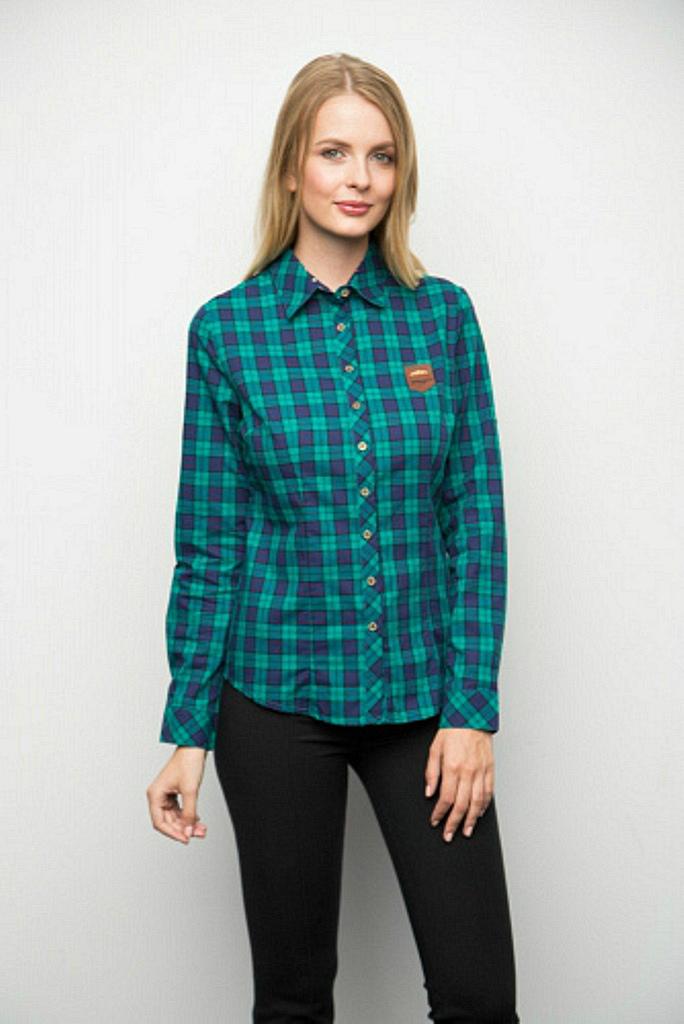 6f000314af6 Купить рубашку женскую в зеленую клетку с длинными рукавами