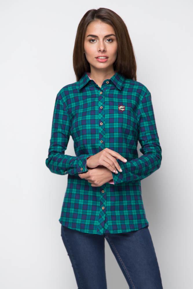 5146dcfa6eb Купить рубашку женскую байковую в зеленую клетку с длинными рукавами