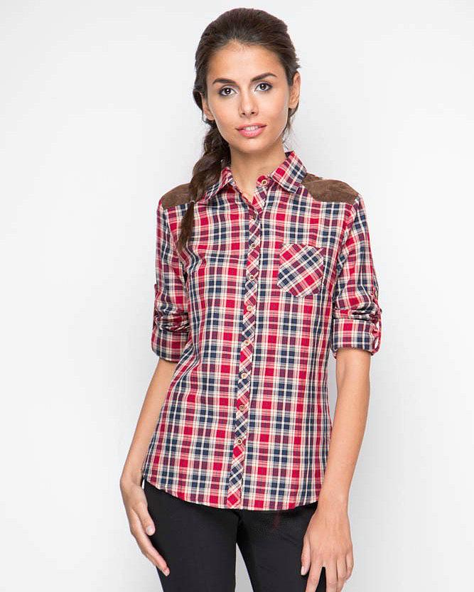 Рубашка с длинным рукавои, Клетка, MariMay