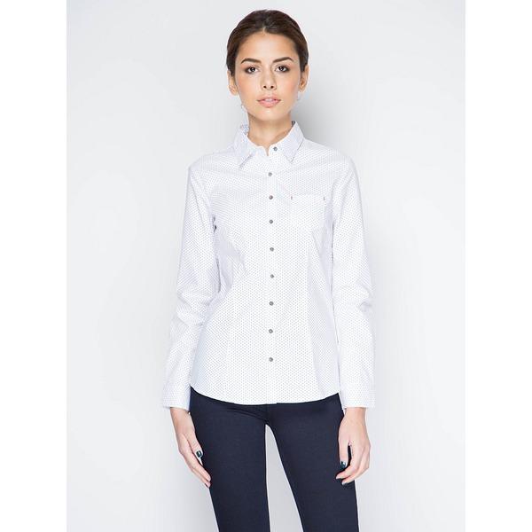 Рубашка женская белая в мелкий горошек
