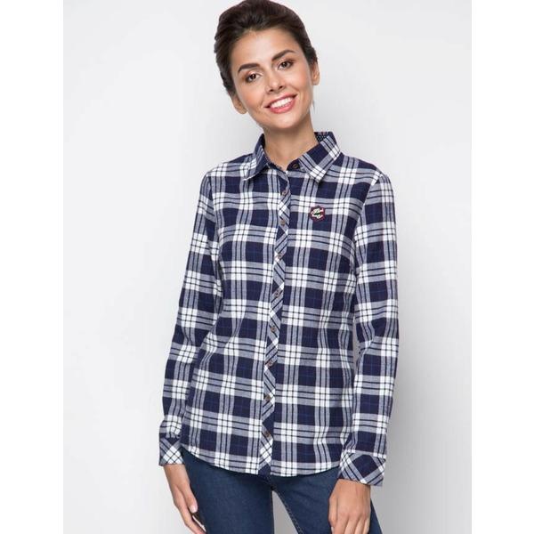 Рубашка женская байковая - синяя клетка