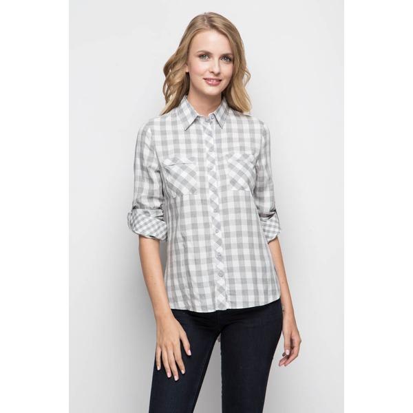 Рубашка женская белая - серая клетка
