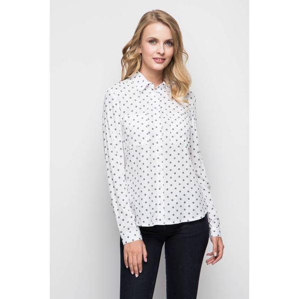 Рубашка женская белая - серый горох