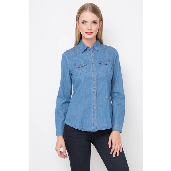 Рубашка женская - джинс с декоративной отделкой