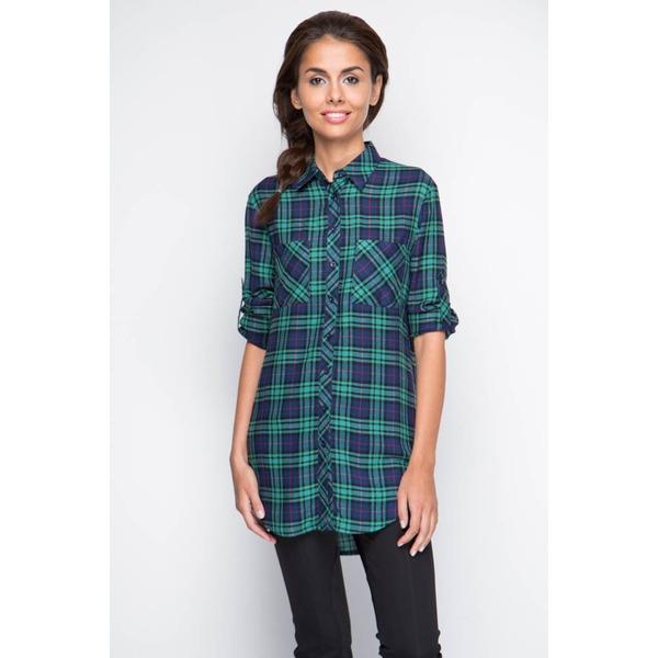 Рубашка женская удлиненная - зеленая клетка