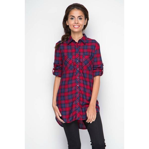 Рубашка женская удлиненная - красная клетка