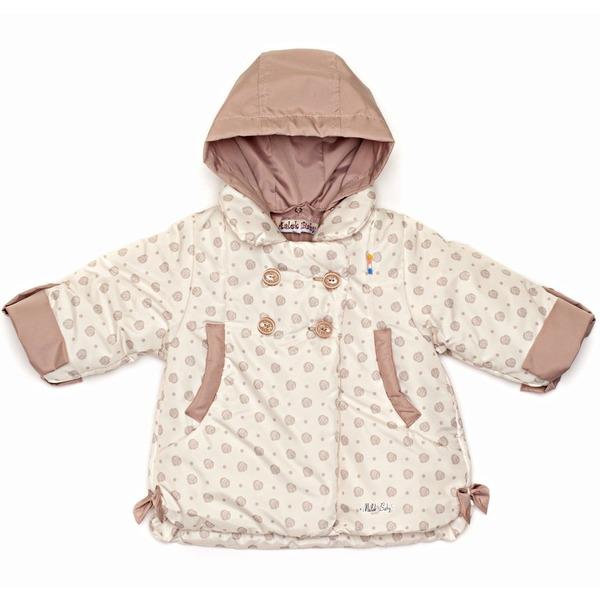 Пальто для девочки с рисунком утепленное