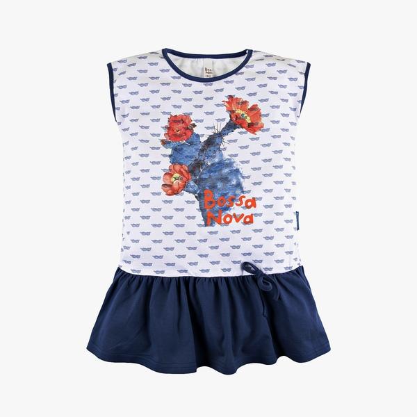 Платье с принтом и бантиком для девочки, Bossa Nova