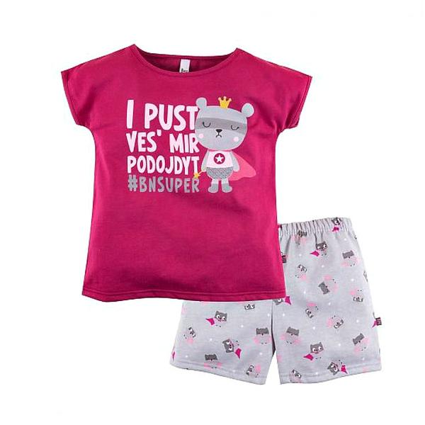 Пижама футболка и шорты с принтом для девочки, Bossa Nova
