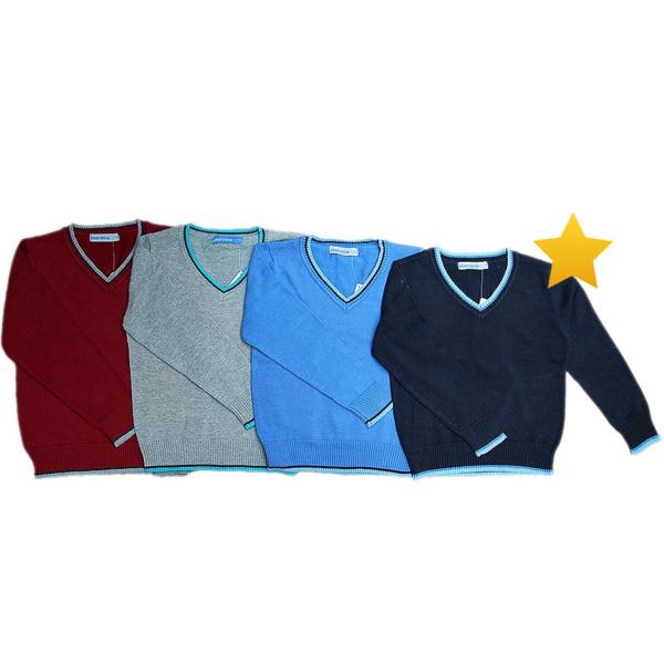 Джемпер вязанный для мальчика, темно-синий, Cherubino