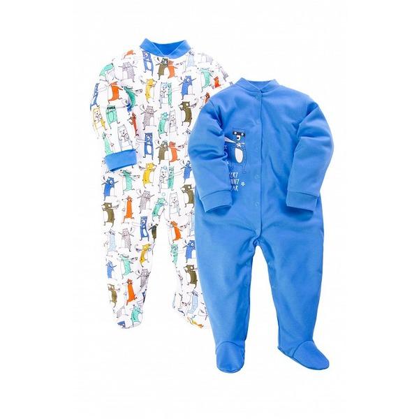 Комбинезон с воротничком-стойкой синий с принтом, Веселый малыш