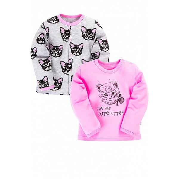 Кофточка нежно-розовая с принтом кошечка