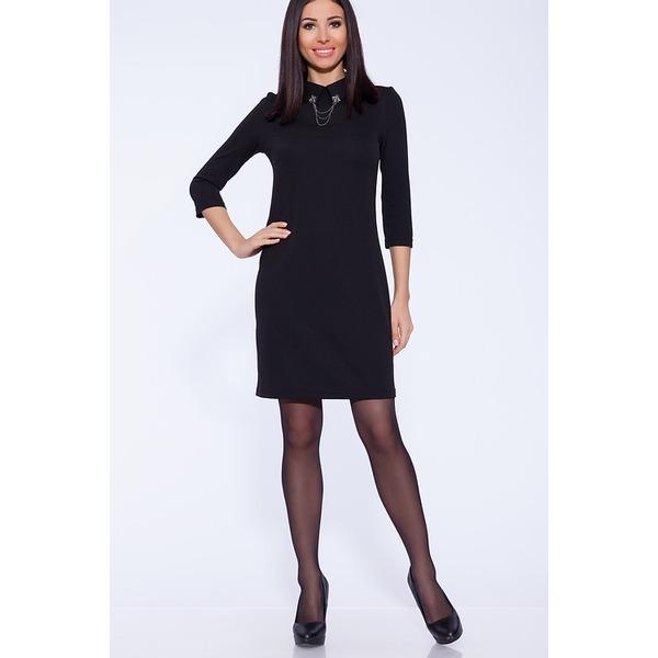 Платье женское черное с брошью