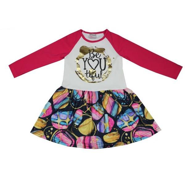 Платье для девочки с блестящим принтом, BIDIRIK