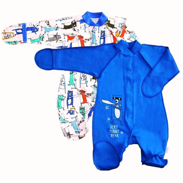 Комбинезон для малышей с закрытыми ручками Синий, Веселый малыш