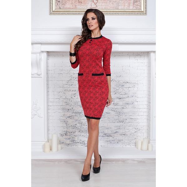 Платье красное с рисунком