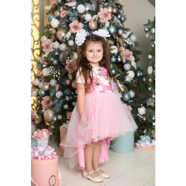 Нарядное платье для девочки с пышной юбкой и бантом