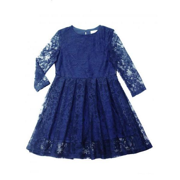 Нарядное платье для девочки синее с гипюром + жемчужный воротничок в подарок