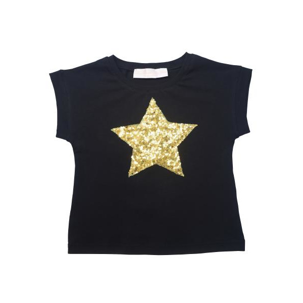 Нарядная футболка для девочки с пайетками