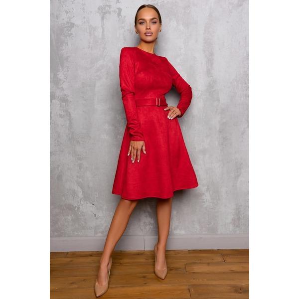 Трикотажное платье из плотной замши