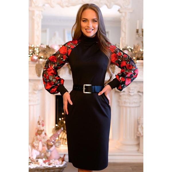 Элегантное черное платье с вышивкой