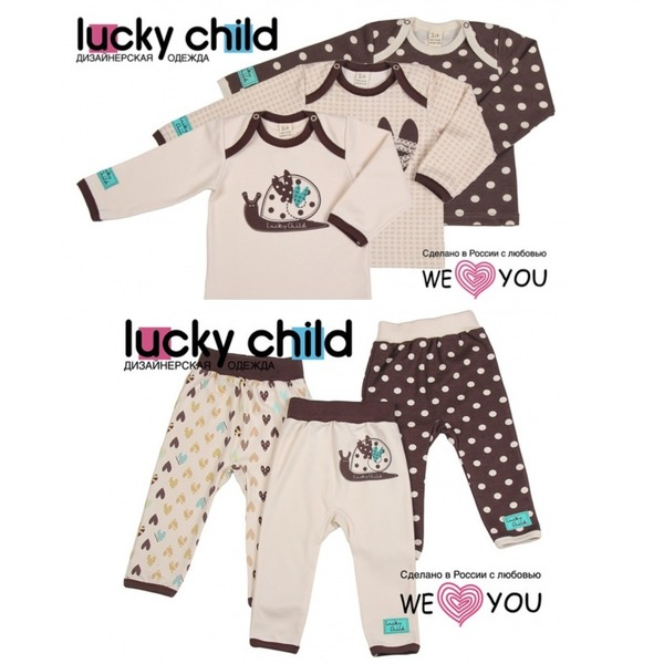 Комплект из 6 предметов (кофточки/3шт. + штанишки/3шт.), Улитки, Lucky Child
