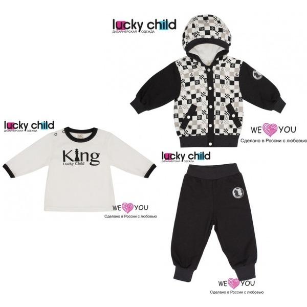Комплект из 3 предметов: кофточка с капюшоном + кофточка + штанишки, Шахматный турнир, Lucky Child